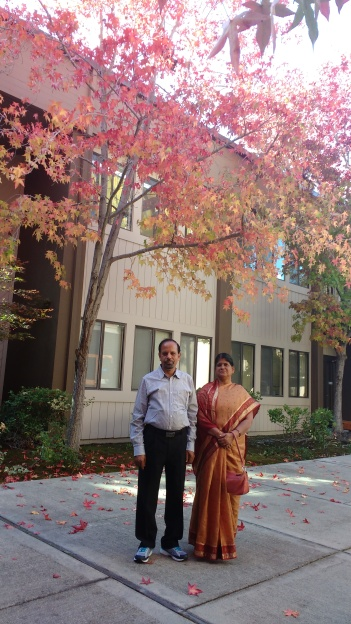 Mom dad in Google office.I love the pink tint here
